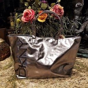 DKNY Metallic Bronze Embossed Logo Purse Shopper